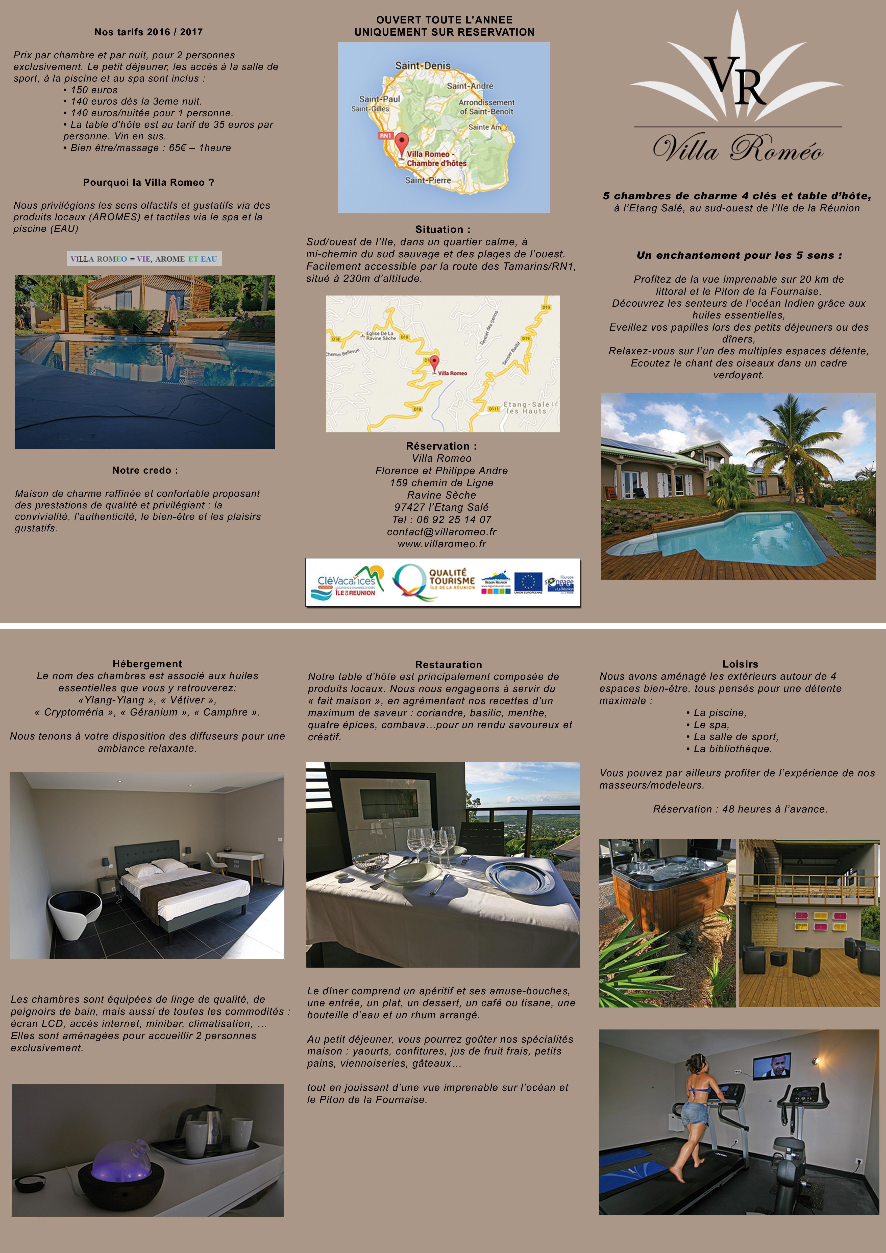 Brochure Villa Romeo Chambre d h´tes de charme  la Réunion